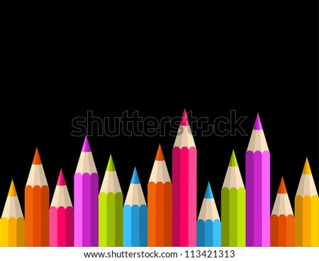 Multicolored rainbow pencils seamless banner pattern. Vector illustration layered for easy manipulation and custom coloring.