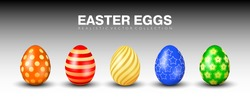 Multicolored realistic 3D easter eggs vector collection. Orange, red, yellow, blue and green eggs with different golden ornaments