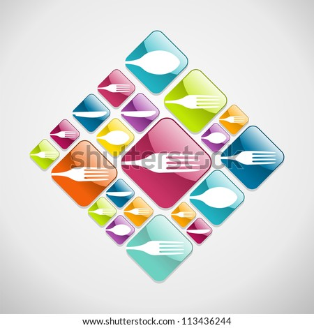 Multicolored restaurant web glossy icons background for food industry. Vector illustration layered for easy manipulation and custom coloring