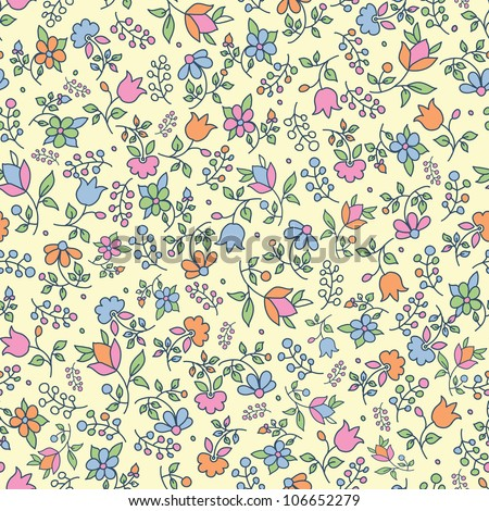 Multicolored retro floral seamless pattern with hand drawn elements. Vector illustration
