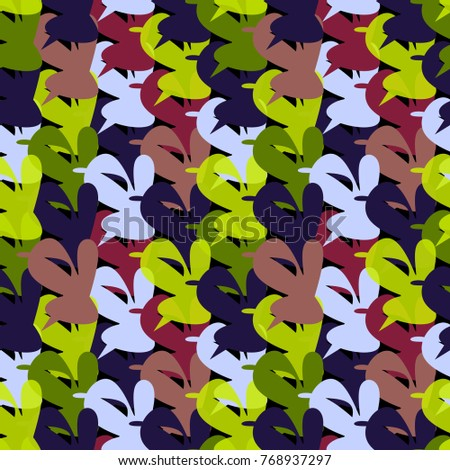 Multicolored seamless pattern out of abstract unusual geometrical hearts.