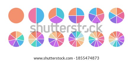 Multicolored segmented circle set. Pie chart for business infographic