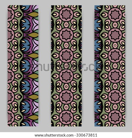 multicolored set of vertical banner templates with hand drawn tribal ornament, mandala. Vector illustration #330673811
