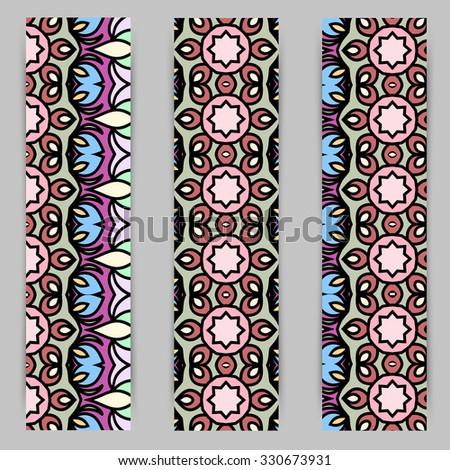 multicolored set of vertical banner templates with hand drawn tribal ornament, mandala. Vector illustration #330673931