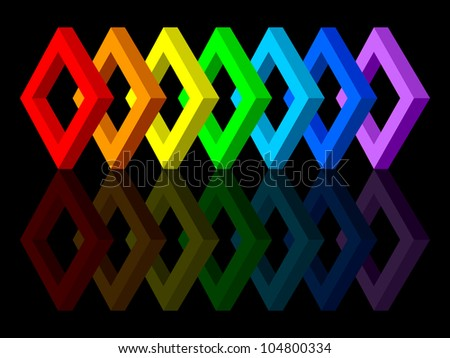 Multicolored shapes on a black background. The shapes have colors of the rainbow. EPS-10.