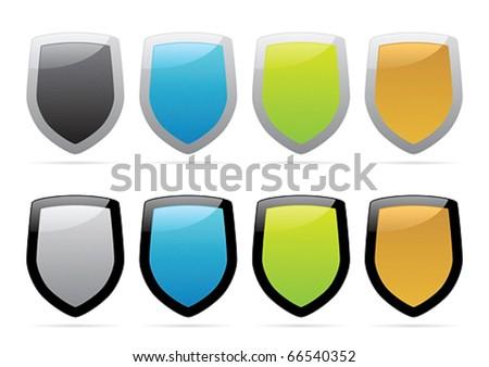 Multicolored shields. Vector illustration.