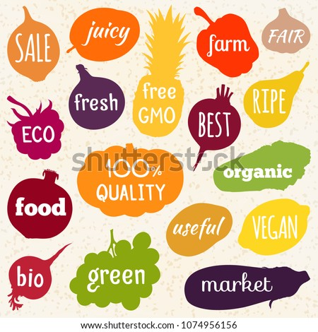 Multicolored silhouettes of vegetables and fruits with inscriptions inside. Vector illustration. Motivational poster about healthy nutrition. #1074956156