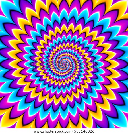 Multicolored spirals. Motion illusion.