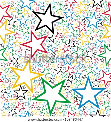 Multicolored stars seamless pattern background. Vector file layered for easy manipulation and customisation.
