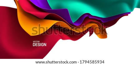 Multicolored streaming fabric. Abstract background. Vector 3d illustration. Wavy layered textile. Flowing silky cloth. Opening ceremony or anniversary decoration element.