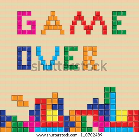 Multicolored tetris blocks. game over. vector file