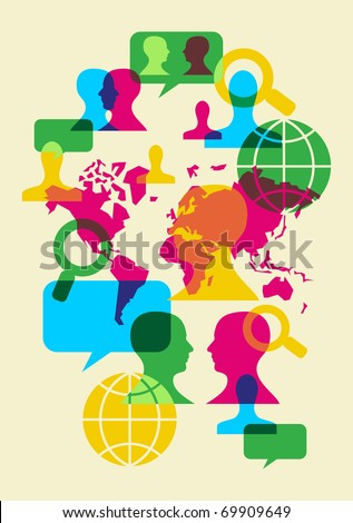 Multicolored transparency social web communication signs. Vector file available.