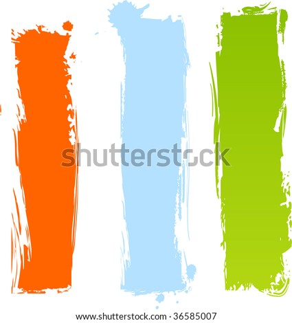 Multicolored vertical grunge banners in three colors