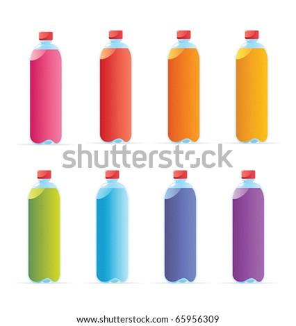 Multicolored water bottles. Vector illustration.