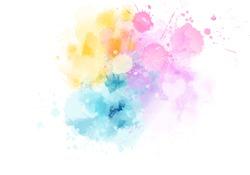Multicolored watercolor imitation splash blot in light pastel colors