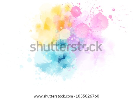 Multicolored watercolor imitation splash blot in light pastel colors