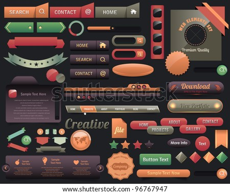 Multicolored Web Elements Vector Design Set