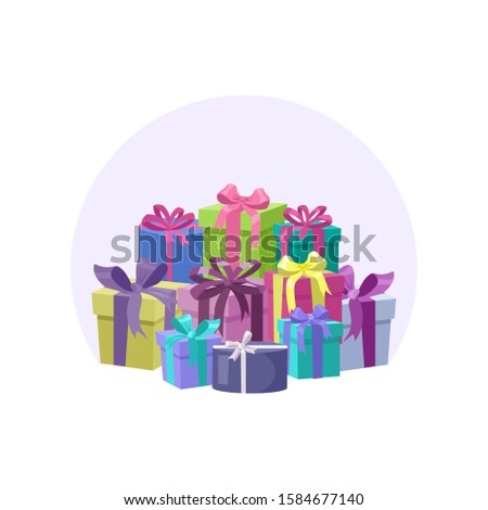 Multicolored wrapped gift boxes. Present box set. Birthday, New Year, Valentine, Wedding or Christmas presents. Vector illustration in cartoon style