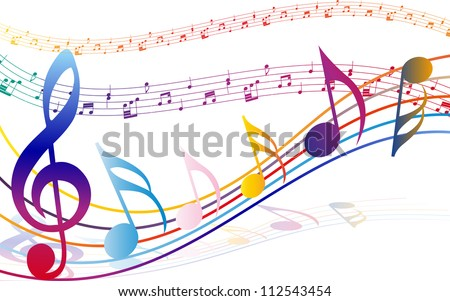 Multicolour  musical notes staff background. Vector illustration with transparency EPS10. - stock vector
