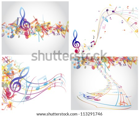 Multicolour  musical notes staff background. Vector illustration with transparency EPS10.