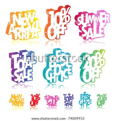 Multicolour retail signs