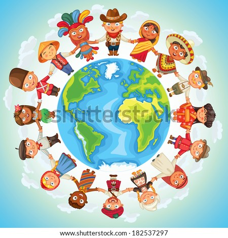 Multicultural character on planet earth cultural diversity traditional folk costumes. Different culture standing together holding hands. Unity people from around the world. Vector illustration