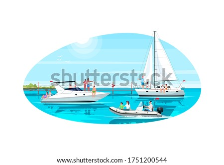 Multicultural group in yacht club semi flat vector illustration. Luxury boat for rental. Premium regatta for maritime voyage. Summer recreation 2D cartoon characters for commercial use Imagine de stoc ©