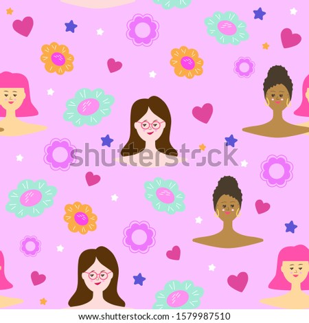 Multicultural group of women. Multinational friends. Multiethnic women. Social diversity. Girl power. Sisterhood. Race unity. People unity. No to racism. Vector pattern illustration.