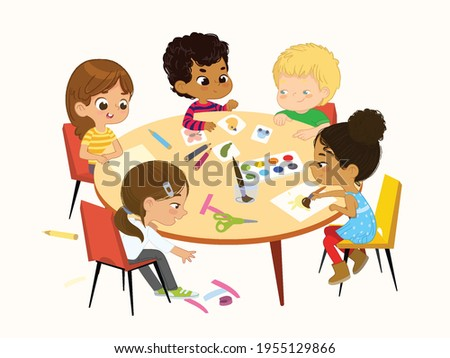 Multicultural, multi aged boys and girls sit at a round table playing games, make applique and painting. Kids draw pictures with paints and pencils. Creative children. Isolated Stock foto ©