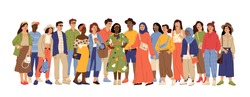 Multicultural people crowd. Diverse person group, isolated multi ethnic community portrait. Adult african european swanky vector characters