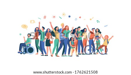 Multicultural people standing together isolated flat vector illustration. Cartoon diverse characters of multinational community members. Society and public concept