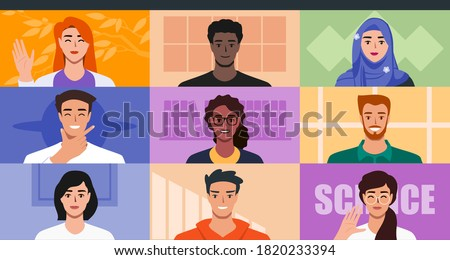 Multicultural People Video Conference for Online Virtual Meetings, Work from Home WFH Concept. Teleconference TV Webinars or Remote Team Working. Vector Illustration in Flat Design Cartoon Style.