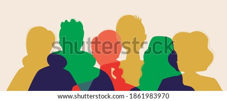 Multicultural society, silhouette isolated. Vector stock illustration. Men, women, different ethnicity, gender. illustration with people silhouettes. Multicultural community together