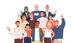 Multicultural team flat vector illustration. Unity in diversity. People of different nationalities and religions cartoon characters. Multinational society. Teamwork, cooperation, friendship concept.