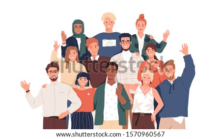 Multicultural team flat vector illustration. Unity in diversity. People of different nationalities and religions cartoon characters. Multinational society. Teamwork, cooperation, friendship concept. Foto stock ©