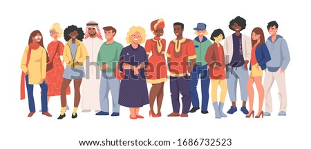 Multicultural team. Group of different people in casual clothes standing together, cartoon characters of diverse nationalities. Vector illustration happy men and women set diversity multiethnic people