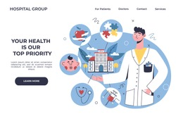 Multidisciplinary hospital banner, online healthcare clinic, visit planner, first aid website concept. Doctor showing online clinic departments: nutrition, therapy, pediatrics, analyzes, psychology.