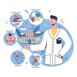 Multidisciplinary hospital concept, online healthcare clinic, visit planner, first aid website concept. Doctor showing online clinic departments: nutrition, therapy, pediatry, analyzes, psychology.