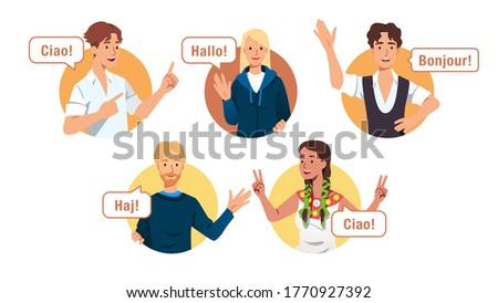 Multiethnic European young men & women characters saying hello in different languages. Diverse people greet gesture & wave hands. International friendship & communication set. Flat vector illustration Stockfoto ©