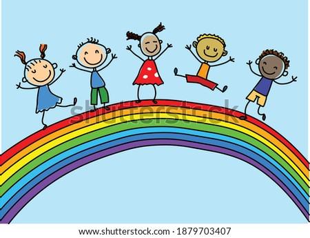 multiethnic group of children under a rainbow  Stock photo ©