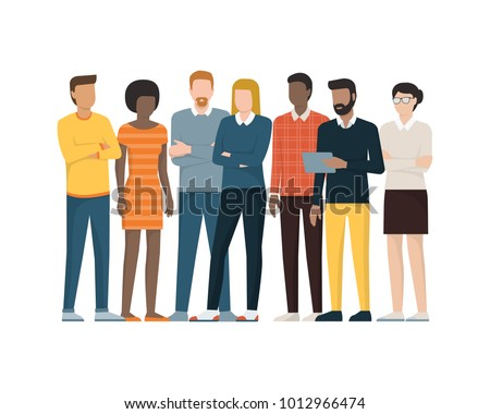 Multiethnic group of people standing together, community and togetherness concept