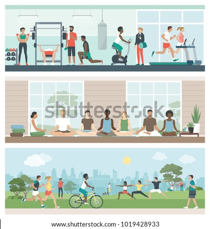 Multiethnic groups of people practicing sports and meditation: they are exercising at the gym, doing yoga and relaxing at the park, healthy lifestyle concept, banner set