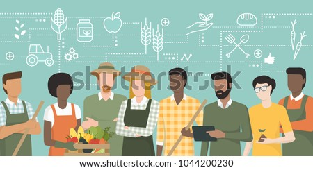 multiethnic team of farmers