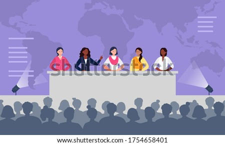 Multiethnic women sitting at the desk on stage and speak to an audience. Debates, international press conference. Global women conference concept. Flat vector illustration. Photo stock ©