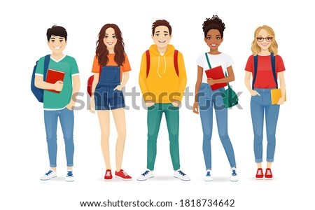 Multiethnic young people in casual clothes with backbackpacks and books. Asian, african and caucasian students standing isolated vector illustration