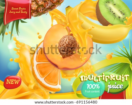 Multifruit juice. Sweet mix tropical fruits. 3d realistic vector, package design