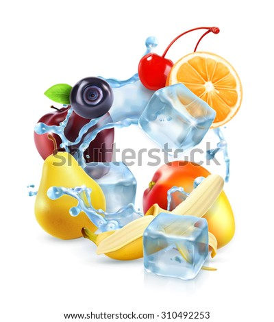 multifruit with ice cubes and