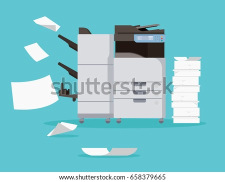 Multifunction Printer scanner. Isolated Flat Vector Illustration