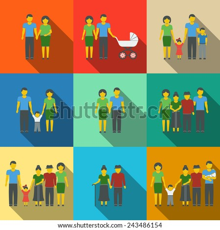 Multigenerational family flat long shadow icons set with all ages family members Vector