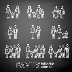 Multigenerational family freehand on a chalk board icons set with all ages family members. Vector